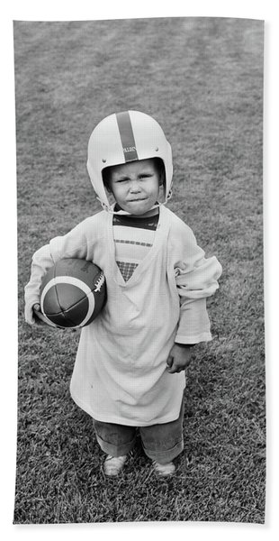 1950s Boy Standing In Grass Wearing Hand Towel