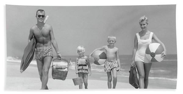 1950s Family Of Four Walking Towards Hand Towel