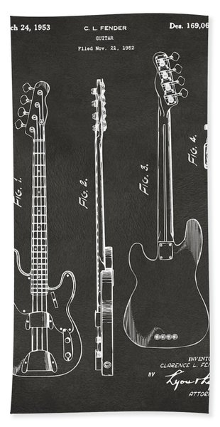 1953 Fender Bass Guitar Patent Artwork - Gray Bath Towel