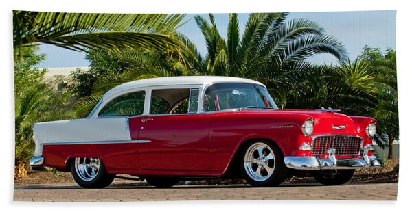 Hand Towel featuring the photograph 1955 Chevrolet 210 by Jill Reger