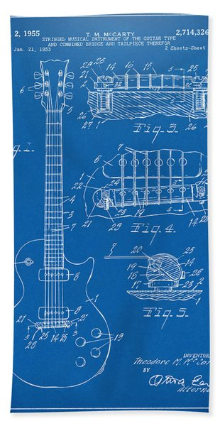 1955 Mccarty Gibson Les Paul Guitar Patent Artwork Blueprint Bath Towel