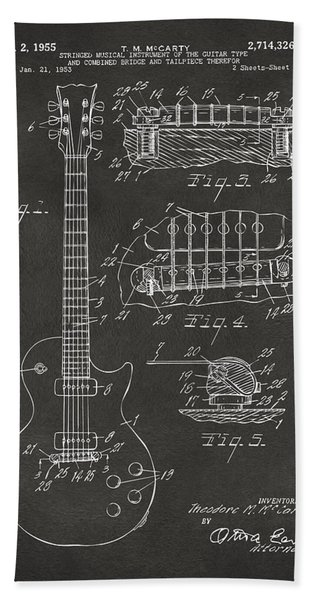 1955 Mccarty Gibson Les Paul Guitar Patent Artwork - Gray Bath Towel