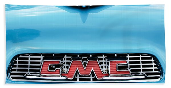 1956 Gmc 100 Deluxe Edition Pickup Truck Hood Ornament - Grille Emblem Hand Towel