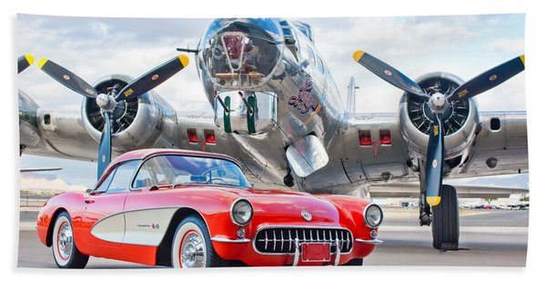 Hand Towel featuring the photograph 1957 Chevrolet Corvette by Jill Reger