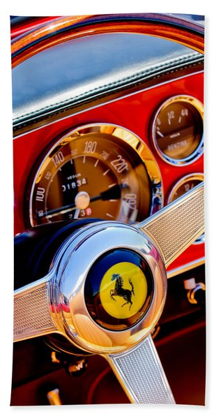 Hand Towel featuring the photograph 1960 Ferrari 250 Gt Cabriolet Pininfarina Series II Steering Wheel Emblem -1319c by Jill Reger