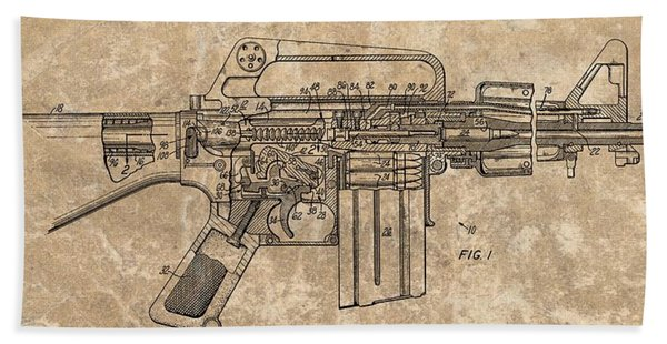 1966 Machine Gun Patent Bath Towel