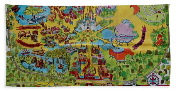 1971 Original Map Of The Magic Kingdom Bath Towel