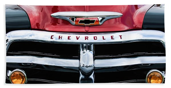 Hand Towel featuring the photograph 1955 Chevrolet 3100 Pickup Truck Grille Emblem by Jill Reger