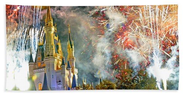 Fireworks Cinderellas Castle Walt Disney World Bath Towel