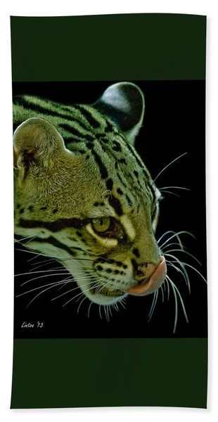 Bath Towel featuring the photograph Ocelot by Larry Linton