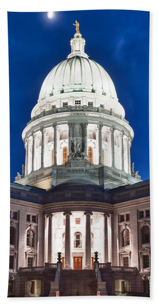Wisconsin State Capitol Building At Night Hand Towel