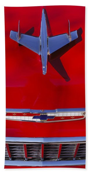 Hand Towel featuring the photograph 1955 Chevrolet Belair Nomad Hood Ornament by Jill Reger