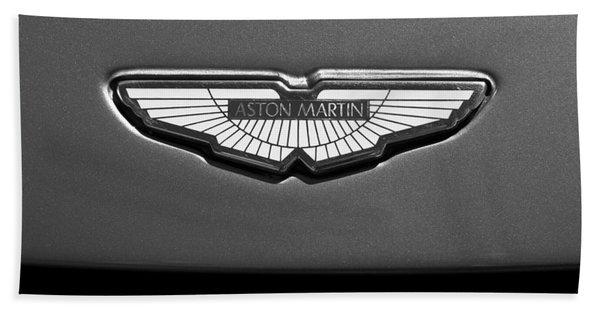 Hand Towel featuring the photograph Aston Martin Emblem by Jill Reger