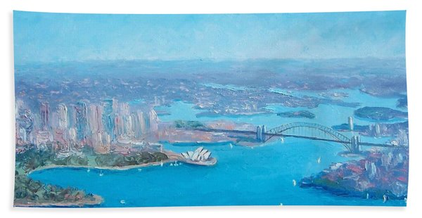 Sydney Harbour And The Opera House Aerial View  Hand Towel