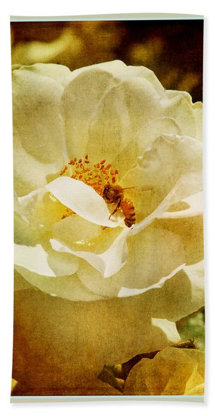 A Bee And Rose Hand Towel