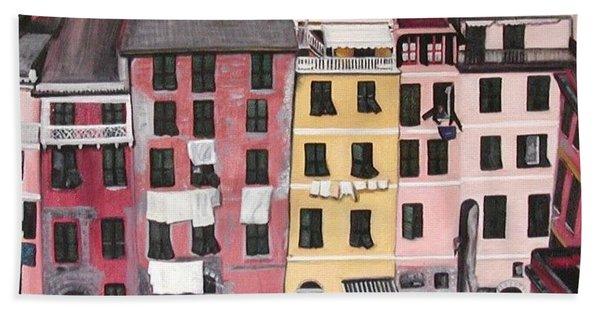 A Bird's Eye View Of Cinque Terre Hand Towel