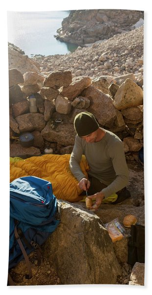A Male Mountain Climber Getting Ready Hand Towel