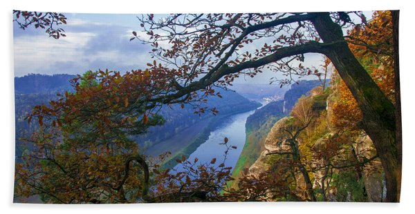 A Window To The Elbe In The Saxon Switzerland Hand Towel