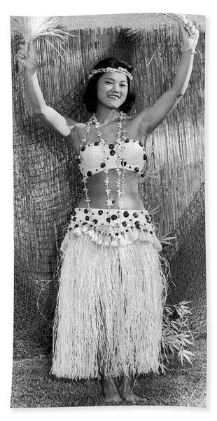 A Young Hawaiian Hula Woman Hand Towel