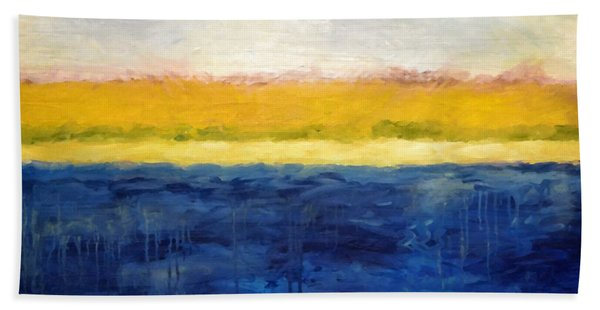 Abstract Dunes With Blue And Gold Bath Towel