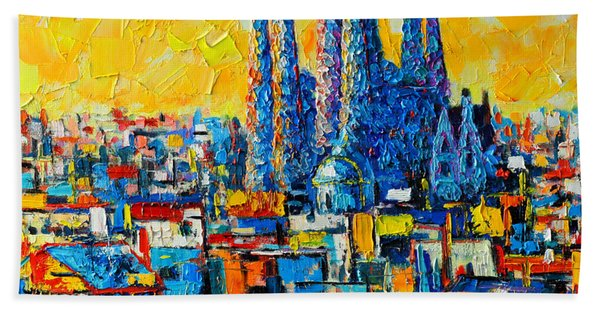 Abstract Sunset Over Sagrada Familia In Barcelona Bath Towel