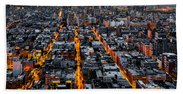 Hand Towel featuring the photograph Aerial View Of New York City At Night by Mihai Andritoiu