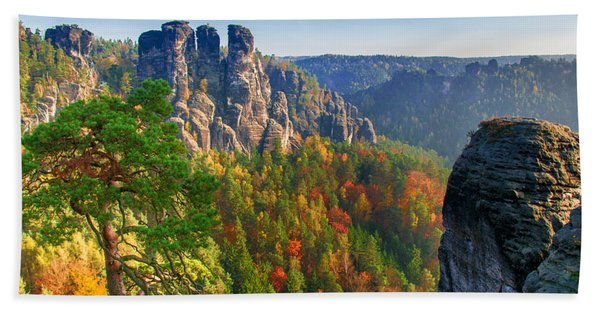 After The Sunrise On The Bastei Hand Towel