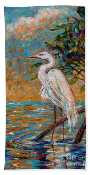 Afternoon Egret Hand Towel