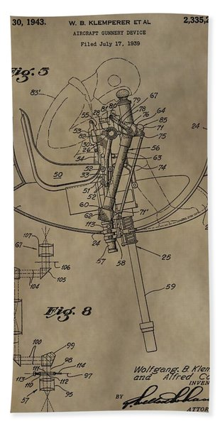 Airplane Gunnery Patent Bath Towel