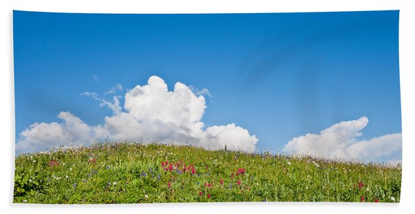 Alpine Meadow And Cloud Formation Hand Towel