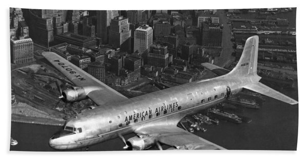 American Dc-6 Flying Over Nyc Hand Towel