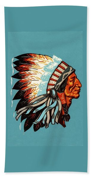 American Indian Chief Profile Hand Towel