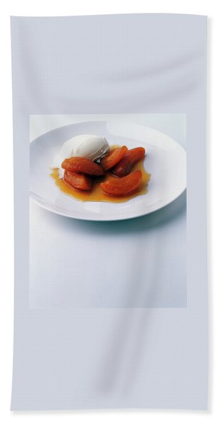 Apricots Served With Vanilla Ice Cream Bath Towel
