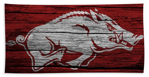 Arkansas Razorbacks On Wood Bath Towel