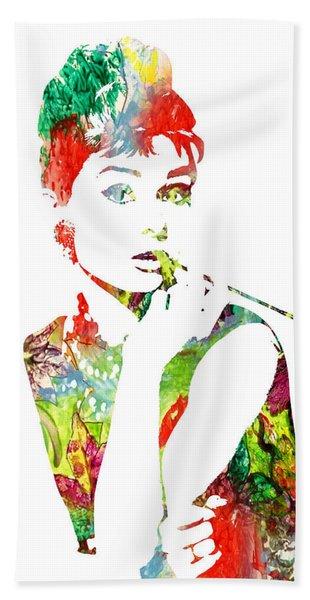 Audrey Hepburn - Watercolor Bath Towel