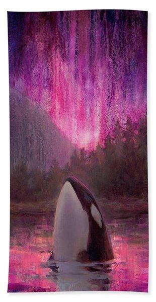 Orca Whale And Aurora Borealis - Killer Whale - Northern Lights - Seascape - Coastal Art Bath Towel