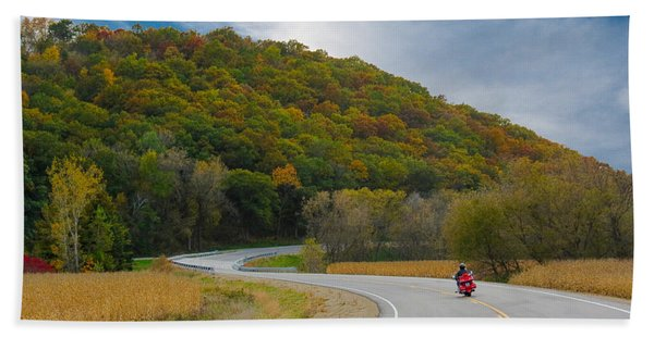 Bath Towel featuring the photograph Autumn Motorcycle Rider / Orange by Patti Deters