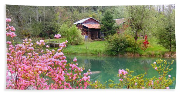 Barn And Flowers Near Pond Hand Towel