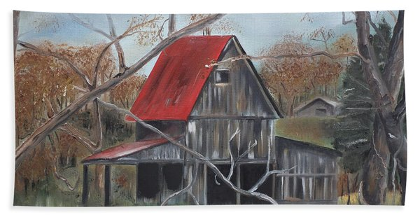 Barn - Red Roof - Autumn Hand Towel