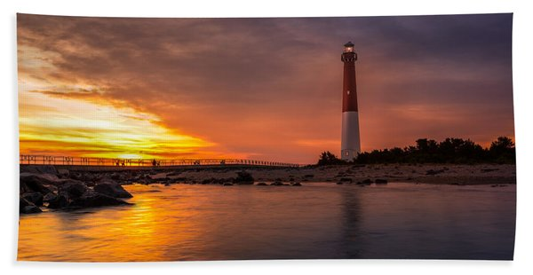 Hand Towel featuring the photograph Barnegat Sunset Light by Mihai Andritoiu