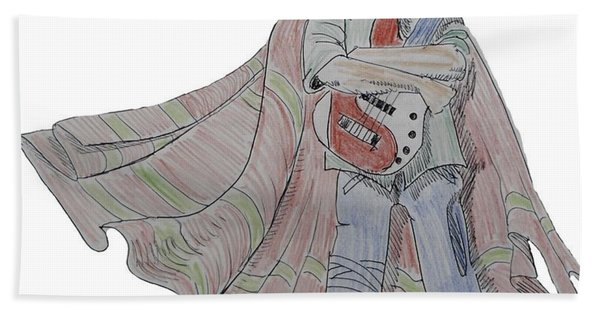 Bass Guitarist Cartoon Bath Towel
