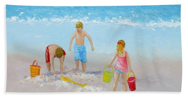 Beach Painting - Sandcastles Hand Towel