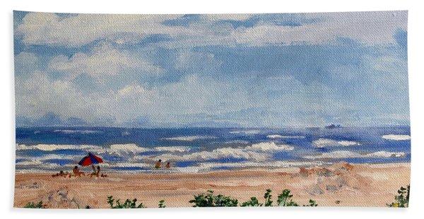 Beach Scene On Galveston Island Bath Towel