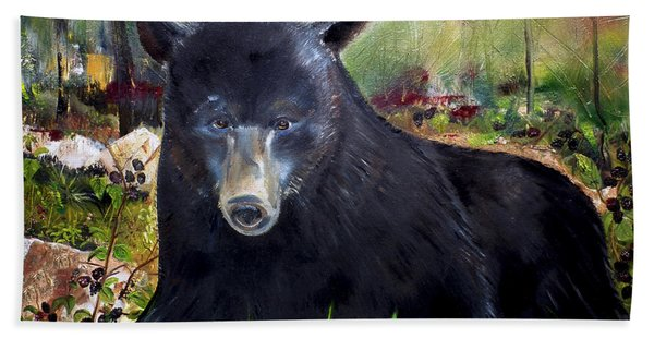 Bear Painting - Blackberry Patch - Wildlife Hand Towel