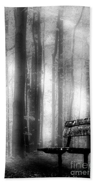 Bench In Michigan Woods Bath Towel