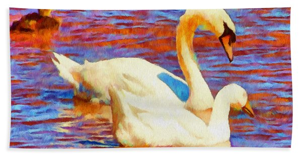 Birds On The Lake Hand Towel