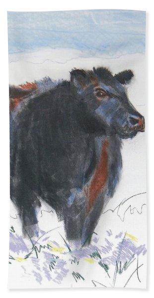 Black Cow Drawing Bath Towel