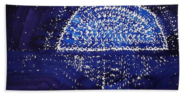 Blue Moonrise Original Painting Hand Towel