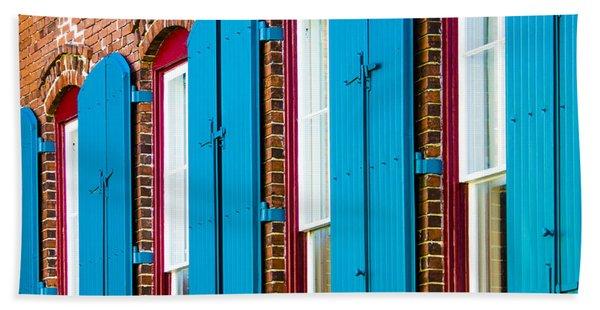 Bath Towel featuring the photograph Blue Windows by Carolyn Marshall