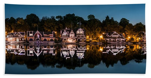 Hand Towel featuring the photograph Boathouse Row Panorama by Mihai Andritoiu